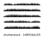 set of black grass silhouettes... | Shutterstock .eps vector #1489266155