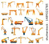 Hoisting Crane Icons Set....