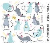cartoon rats collection. vector ... | Shutterstock .eps vector #1489375652