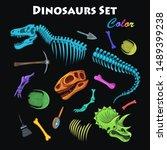 vector color dinosaur bones set | Shutterstock .eps vector #1489399238
