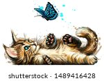 a kitten is playing with a... | Shutterstock .eps vector #1489416428