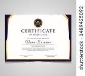 elegant blue and gold diploma... | Shutterstock .eps vector #1489425092
