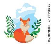 fox mammal happy autumn season...   Shutterstock .eps vector #1489448912