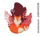 fox mammal happy autumn season...   Shutterstock .eps vector #1489449248