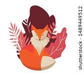 fox mammal happy autumn season...   Shutterstock .eps vector #1489449512