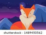fox mammal happy autumn season...   Shutterstock .eps vector #1489450562