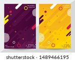 memphis style covers set with... | Shutterstock .eps vector #1489466195