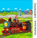 cartoon funny looking steam... | Shutterstock . vector #1489530542