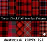 Set Red Tartan Plaid Scottish...