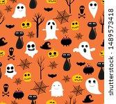 halloween seamless pattern...   Shutterstock .eps vector #1489573418