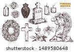 funeral service vector hand... | Shutterstock .eps vector #1489580648