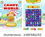 game ui candy world match 3 set ...