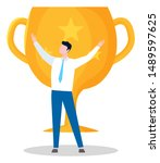 victorious person  man with... | Shutterstock .eps vector #1489597625