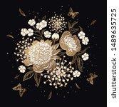 luxurious bouquet of flowers...   Shutterstock .eps vector #1489635725