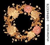wreath of luxurious garden... | Shutterstock .eps vector #1489643378
