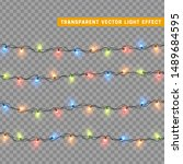 christmas lights in multi... | Shutterstock .eps vector #1489684595