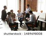 middle aged female team leader...   Shutterstock . vector #1489698008