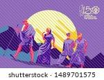 gandhi illustration by impress  ... | Shutterstock .eps vector #1489701575