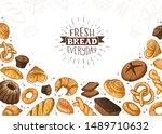 fresh bread everyday banner.... | Shutterstock .eps vector #1489710632