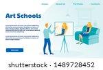art school  studio landing page ...   Shutterstock .eps vector #1489728452