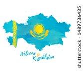 welcome to kazakhstan banner.... | Shutterstock .eps vector #1489736435