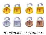 padlock icon with square and...