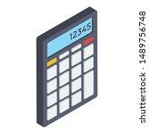 isometric icon of calculator... | Shutterstock .eps vector #1489756748