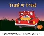 trunk or treat halloween night | Shutterstock .eps vector #1489770128