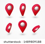 map pointer 3d pin with glowing ... | Shutterstock .eps vector #1489809188