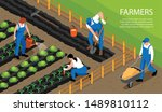 farmers at work watering... | Shutterstock .eps vector #1489810112