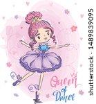 Cute Girl Illustration. Dancin...