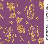 seahorse and fish colorful... | Shutterstock . vector #1489844078