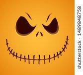 sinister pumpkin face on yellow ... | Shutterstock . vector #1489848758