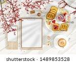 mockup restaraunt menu 3d...   Shutterstock . vector #1489853528