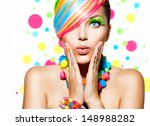 beauty girl portrait with... | Shutterstock . vector #148988282