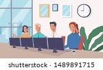 group of operators with headset ... | Shutterstock .eps vector #1489891715
