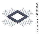 isometric processor chip vector ... | Shutterstock .eps vector #1489931768
