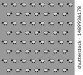 Vector Sheep Pattern On Grey...