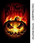 halloween party poster design...   Shutterstock . vector #1489982582