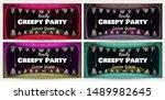 creepy halloween party banners. ... | Shutterstock .eps vector #1489982645