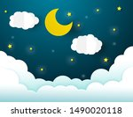 night sky with stars and moon.... | Shutterstock .eps vector #1490020118