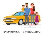 happy family. father  mother... | Shutterstock .eps vector #1490026892