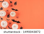 top view of halloween crafts ... | Shutterstock . vector #1490043872