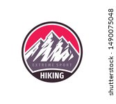 mountains hiking extreme sport  ... | Shutterstock .eps vector #1490075048