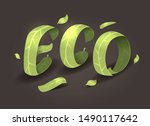 eco. big green leaf phrase on... | Shutterstock .eps vector #1490117642