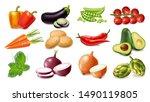 vegetables set collection... | Shutterstock .eps vector #1490119805