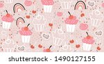 seamless pattern with cute... | Shutterstock .eps vector #1490127155