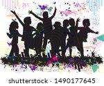 vector silhouette of children ... | Shutterstock .eps vector #1490177645
