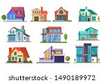 apartment house set. building ... | Shutterstock .eps vector #1490189972