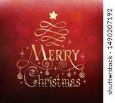 merry christmas lettering... | Shutterstock .eps vector #1490207192